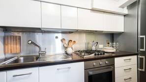 Full-size fridge, stovetop, dishwasher, cookware/dishes/utensils