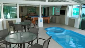 Indoor pool, pool umbrellas