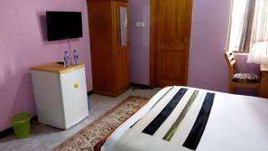 Minibar, desk, blackout curtains, bed sheets