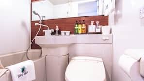 浴缸連淋浴設備、風筒、拖鞋、附設智能廁板的座廁