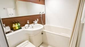 Combined shower/tub, hair dryer, slippers, electronic bidet