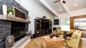 Flat-screen TV, fireplace