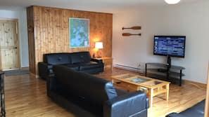 TV, fireplace, DVD player, foosball