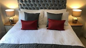 Egyptian cotton sheets, premium bedding, desk, laptop workspace