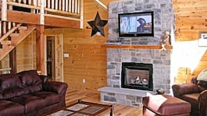 LCD TV, fireplace, video games, DVD player