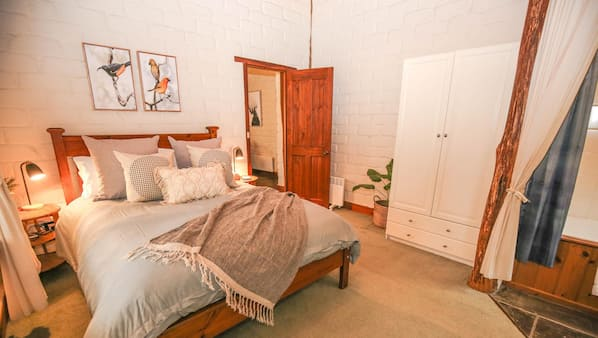 1 bedroom, desk, iron/ironing board, bed sheets