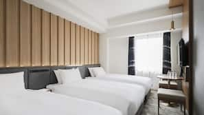 Down duvets, pillow-top beds, in-room safe, desk