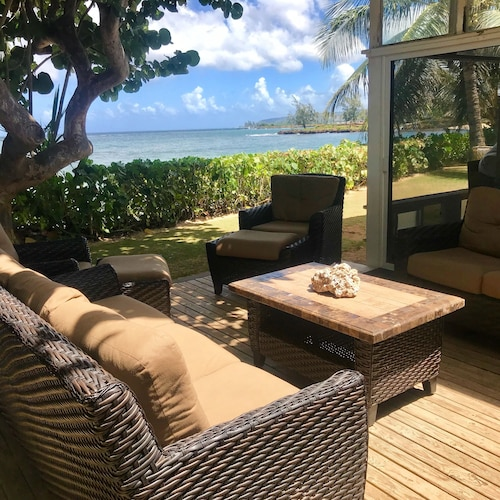 Balcony, Waialua Honu Hale - Spectacular Beachfront Home! 30 Day Rental