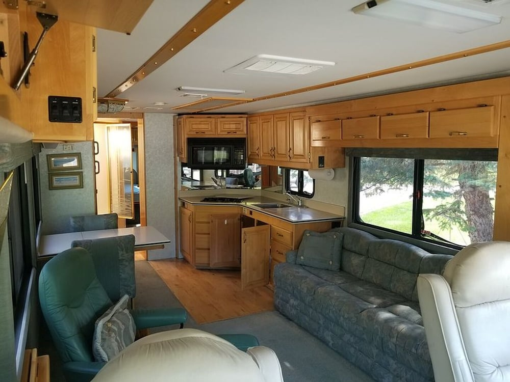 Living Room, ClassA RV, boondocking Freestyle at the Nude Beach anywhere Manitoba