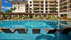 3 outdoor pools, open 6:00 AM to 9:00 PM, pool umbrellas, sun loungers