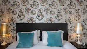 Egyptian cotton sheets, premium bedding, laptop workspace