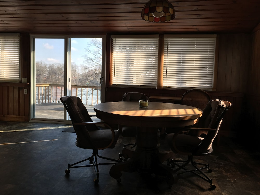 "In-Room Dining, ""Indiana Beach Rentals"" on Shafer Lake, <br>Monticello, Indiana. Boat rental avail<br>"