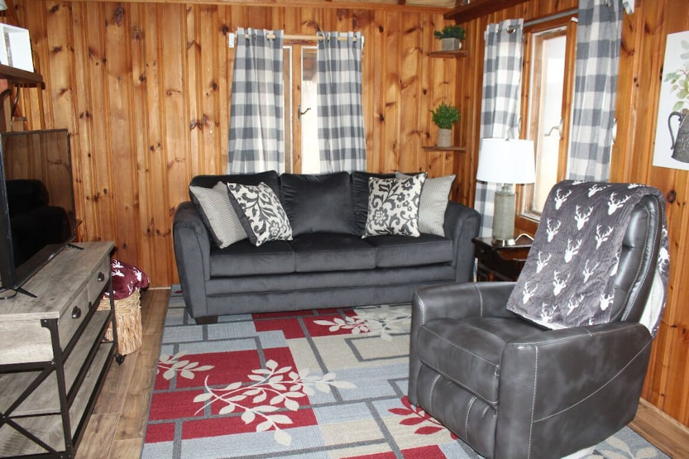Living Room, Rustic, Tranquil, Cozy Chalet on 130 Acres of Farmland