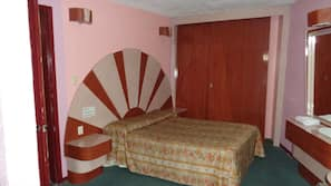 Desk, blackout drapes, bed sheets