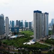 숙박 시설에서 보이는 시내 전망