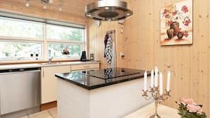 Mikrobølgeovn, kokeplater, oppvaskmaskin og kaffetrakter/tekoker