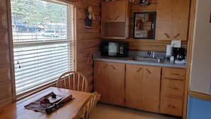 Fridge, microwave, cookware/dishes/utensils, paper towels