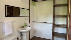 Ducha, secador de pelo, toallas y jabón