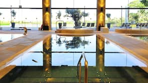 3 indoor pools, 2 outdoor pools, open 9:00 AM to 9:00 PM, free cabanas