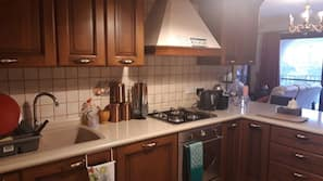 Fridge, oven, dishwasher, coffee/tea maker