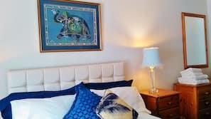 Premium bedding, laptop workspace, free WiFi, bed sheets