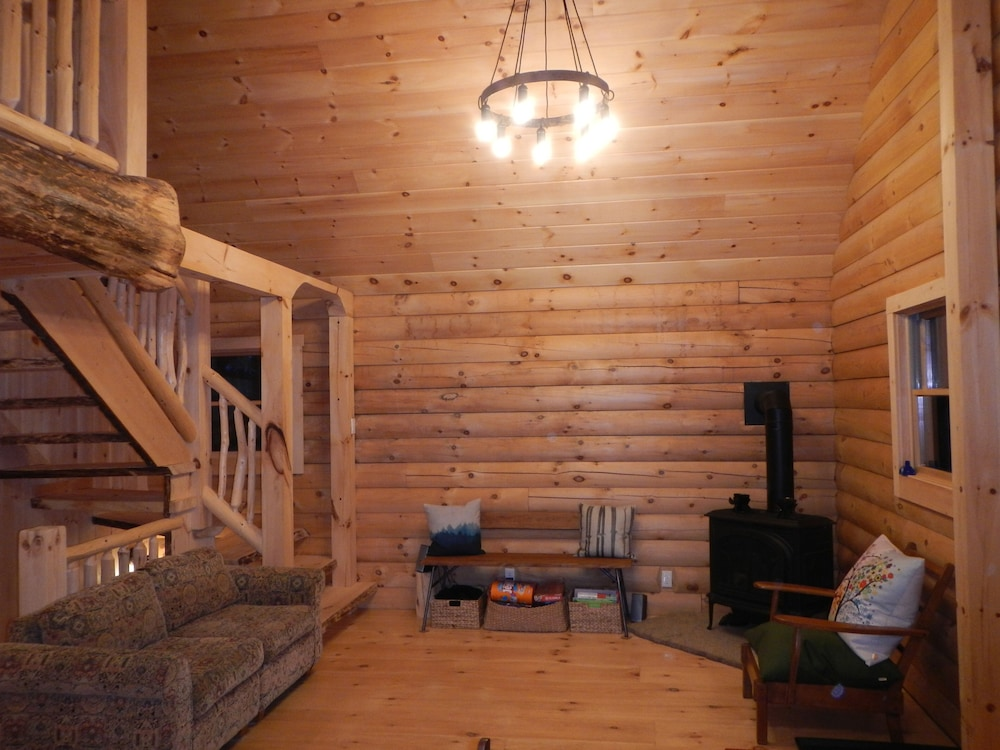 Living Room, Log Cabin in Picture Perfect Jackson, NH - Near Storyland in the White Mountains