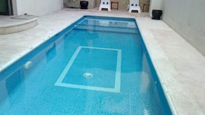 Indoor pool, open 7:00 AM to 8:00 PM, sun loungers