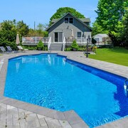 Greenport Village Home w/ Pool! Steps to Town Center & Bay Beach!