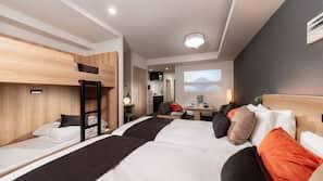 Down comforters, in-room safe, desk, free cribs/infant beds