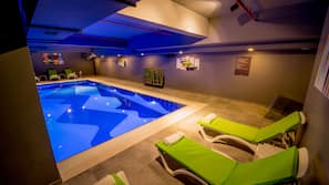 Indoor pool, open 8:00 AM to 10:30 PM, free cabanas, sun loungers