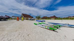 On the beach, white sand, snorkelling, windsurfing
