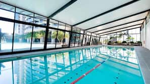 Indoor pool, 2 outdoor pools, open 6:00 AM to 10:00 PM, pool loungers