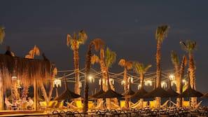 Private beach, sun loungers, beach umbrellas, beach massages