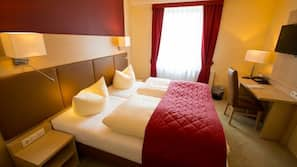 Desk, cots/infant beds, free WiFi, bed sheets