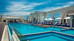 Indoor pool, 2 outdoor pools, open 7:00 AM to 9:00 PM, free cabanas