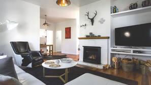 TV, fireplace, books