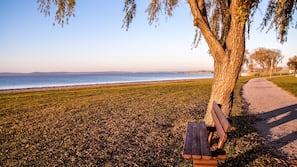 Perto da praia, espreguiçadeiras