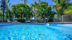 Outdoor pool, open 6:00 AM to 9:00 PM, pool loungers