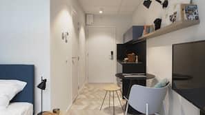 Luxe beddengoed, een laptopwerkplek, geluiddichte muren, gratis wifi