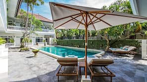 室外泳池;06:00 至 20:00 開放;泳池傘、躺椅