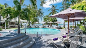 Outdoor pool, open 7:00 AM to 6:00 PM, pool umbrellas, sun loungers