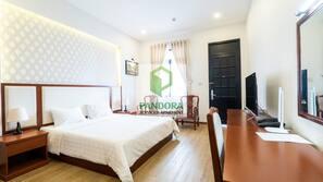 Premium bedding, down comforters, memory foam beds, in-room safe