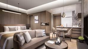 Premium bedding, Select Comfort beds, desk, iron/ironing board