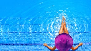 2 outdoor pools, open 7:00 AM to 7:00 PM, pool umbrellas, sun loungers