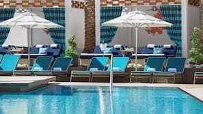 Outdoor pool, open 8:00 AM to 6:00 PM, cabanas (surcharge)