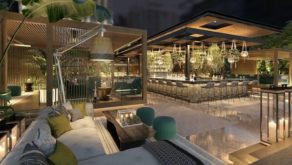 Cocktail bar, al fresco dining, open daily