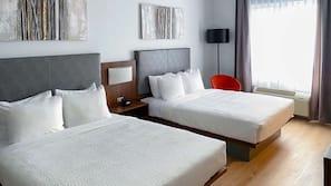 Individually furnished, desk, laptop workspace, blackout drapes