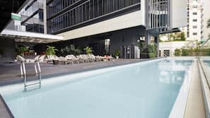 Outdoor pool, open 6:00 AM to 11:00 PM, free pool cabanas, pool loungers
