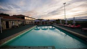 Indoor pool, seasonal outdoor pool, open 9 AM to 5 PM, free pool cabanas