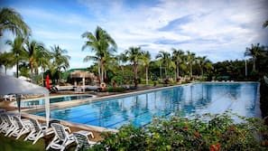 2 outdoor pools, open 7:00 AM to 9:00 PM, pool umbrellas, sun loungers
